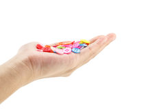 Hand holding colorful buttons Royalty Free Stock Images