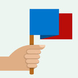 Hand holding colorful flag, vector illustration.  Stock Photo