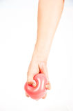 Hand holding colorful helium balloons isolated Stock Photography