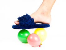 Hand holding colorful helium balloons  Stock Image