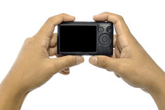 Hand Holding Compact Camera Royalty Free Stock Photography