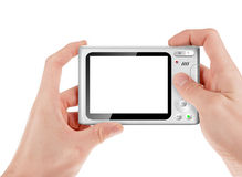 Hand holding a compact digital camera Royalty Free Stock Images