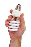 Hand holding compact lamp Royalty Free Stock Photos