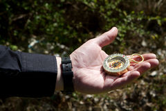Hand Holding Compass Stock Image