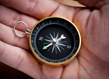 Hand holding a compass Stock Photography