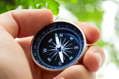 Hand holding compass Royalty Free Stock Photography