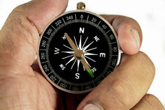 Hand Holding Compass on White. Business advisor holding compass. Over the shoulder view royalty free stock photo