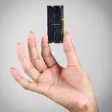 Hand holding computer memory. DDR3, Isolated over grey background with clipping path Royalty Free Stock Images