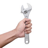 Hand with wrench. Hand holding a construction tool Stock Photography
