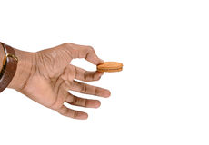 Hand holding cookie Royalty Free Stock Image