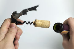 The hand holding the corkscrew on white background for wine bottles. The hand holds a corkscrew on a white background stock image