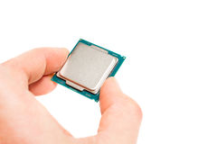A hand holding cpu processor Royalty Free Stock Photo