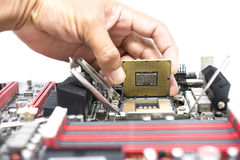 Hand holding CPU show  the ic surface and have motherboard open Stock Photos