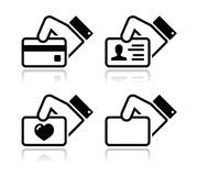 Hand holding credit card, business card icons Royalty Free Stock Photography