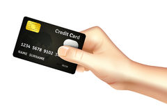 Hand holding credit card icon Stock Photography
