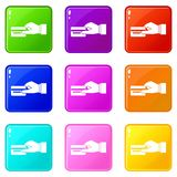 Hand holding a credit card icons 9 set Royalty Free Stock Photos