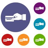 Hand holding a credit card icons set. In flat circle reb, blue and green color for web Royalty Free Stock Photos
