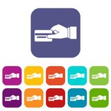 Hand holding a credit card icons set. Vector illustration in flat style In colors red, blue, green and other Royalty Free Stock Photos