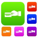 Hand holding a credit card set collection Royalty Free Stock Photos