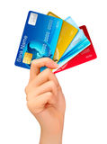 Hand holding credit cards. Royalty Free Stock Photography