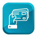 Hand holding Credit Cards Icon. Blue Button. Eps10 Vector stock illustration