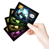 Hand holding credit cards over white background Stock Photos