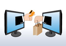 Hand holding credit cards and shopping bag, shopping online Royalty Free Stock Photo