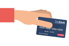 Hand holding credit or debit card icon. Flat design hand holding credit or debit card icon  illustration Royalty Free Stock Photo