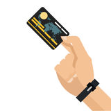 Hand holding credit or debit card icon. Simple flat design hand holding credit or debit card icon  illustration Royalty Free Stock Photo