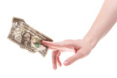 Hand holding crumpled dollar Royalty Free Stock Image