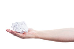 Hand holding crumpled paper Stock Photography