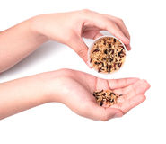 Hand holding cup of brown rice grain Royalty Free Stock Photos