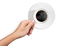 Hand are holding a cup of coffee on white Royalty Free Stock Image