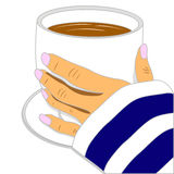 Hand holding cup of coffee. Hand holding white cup of hot coffee Stock Photography