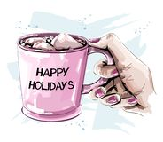 Hand holding cup with marshmallow. Beautiful winter set. Sketch. Vector illustration stock illustration