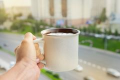Morning Coffee in a Business Center of City Royalty Free Stock Photos