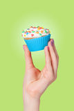 Hand holding cupcake Stock Images
