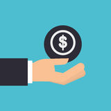 Hand holding currency money icon design isolated Royalty Free Stock Images