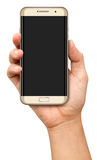 Hand holding Curve Screen Smartphone with blank screen Royalty Free Stock Photography