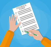 Hand holding customer survey paper. And pencil. feedback concept, customer service, quality control. vector illustration in Flat style on blue background Royalty Free Stock Image