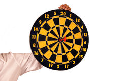 Hand holding Dart arrow. Hand olding Dart arrow target middle point royalty free stock image
