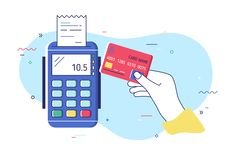 Hand holding debit or credit card, waving it over electronic terminal or reader and paying or purchasing. Contactless. Payment system or technology. Colorful vector illustration