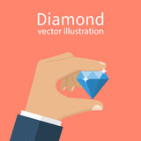 Hand holding diamond. royalty free illustration