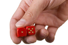 Hand holding dice Royalty Free Stock Photography