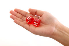Hand holding dice against white background Royalty Free Stock Photo
