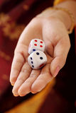Hand holding dices Royalty Free Stock Photo