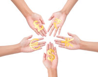 Hand holding currency symbols. Hand holding different currency symbols Royalty Free Stock Photography