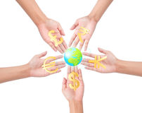 Hand holding different currency symbols. And Exchange Stock Market as Concept Stock Photography