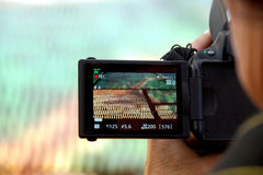Hand holding the Digital camera, shoot of landscape photo using liveview Stock Image