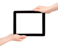 Hand Holding Digital Tablet. Hands of a woman holding digital tablet displaying a white screen stock images